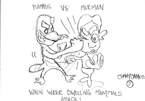 Platypus vs Merman, by Jimmy James Eaton